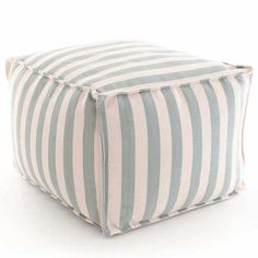 Fresh American Trimaran Stripe Light Blue and Ivory Indoor/Outdoor Pouf @LaylaGrayce