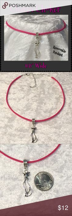 "Fuchsia Faux Vegan Suede Tall Cat Charm Choker This fuchsia vegan faux suede 1/8""W choker is 12 1/2"" long with a 3 5/8"" silver-plated extender & Tibetan silver removable tall cat charm pendant. Handcrafted by me.   Can be made longer or shorter. 35 faux suede colors available. For different color/charm see color chart listings for ideas & tag me.   Jewelry items priced firm as single purchase due to material cost & PM fees.   Bundle special on guitar pick/choker/charm jewelry ONLY: Any 2…"