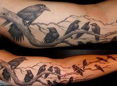 Ravens Tattoo on Sleeve - 60 Mysterious Raven Tattoos Tattoo Girls, Girl Tattoos, Fox Tattoos, Raven Tattoo Meaning, Tattoos With Meaning, Tattoo Motive, Tattoo On, Tattoo 2015, Lotus Tattoo