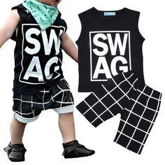Retail Baby boy clothing set Letters printed sleeveless T-shirt + Harem pants 2016 summer kids boy clothes set vetement enfant