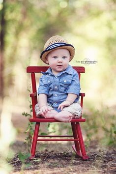 First Birthday Photo Ideas: Outdoors with a chair as a prop. So cute