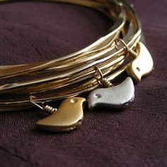 Bird's Nest Bangles--so darn cute in silver and gold!