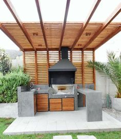 44 modern outdoor kitchen design ideas Although ancient inside notion, your pergola continues to Modern Outdoor Kitchen, Outdoor Kitchen Bars, Outdoor Kitchens, Backyard Kitchen, Outdoor Bars, Outdoor Storage, Grill Design, Patio Design, Outdoor Rooms