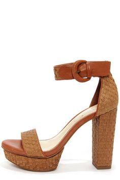 Jessica Simpson Kaelani Light Luggage Woven High Heel Sandals at LuLus.com!