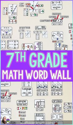 "With references for constant of proportionality, scale factor, equations, expressions, angle pairs, complex fractions, independent and dependent probability, area, perimeter, circumference, integers, inequalities, percents and simple interest, this word wall is a great addition to a 7th grade math classroom. The references are integrated wherever possible (ex: ""ratio"" is shown on the part of the word wall that is for scale factor) so that students can connect the math curriculum. Teaching 6th Grade, 7th Grade Math, Teaching Math, Math Wall, Math Word Walls, Math Classroom Decorations, Classroom Ideas, Reflection Math, Inspirational Classroom Posters"