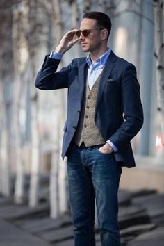 ea18784133 Make a navy check blazer and navy jeans your outfit choice to create a neat  and relaxed getup.