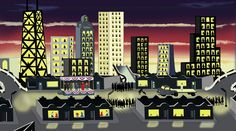 Jesus Entering Chicago in 1976 - Roger Brown.    Check out more of his work at my Winter Weekend Series - Artists I Love http://napkindad.com/blog/2012/12/01/artists-i-love-roger-brown-winter-weekend-series/