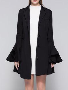 Shop Coats - Black Lapel Frill Sleeve A-line Coat online. Discover unique designers fashion at StyleWe.com.