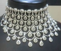 Dazzling diamonds and platinum necklace by ciribelli montecarlo jewellery