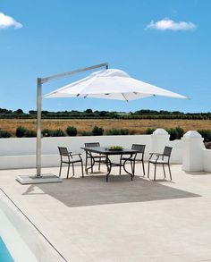Liberty is a sunshade with a pulley closing system. When opened, it looks like a cloud in the sky. It is fitted with a sturdy steel central column.   @ethimofr #designbest #outdoor #italiandesign