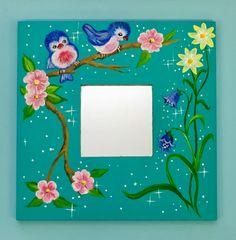 Handgeschilderd spiegeltje met vogeltjes en bloemen door Janske Megens