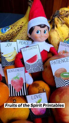 Printable Bible Verses, Printable Labels, Free Printables, Diy Christmas Eve Box, Christmas Holidays, Preschool Bible, Create Canvas, Fruit Of The Spirit, Sunday School Crafts
