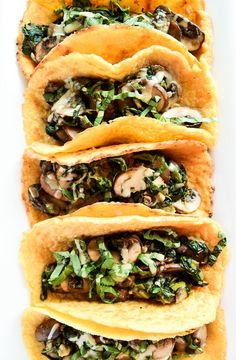 Crepe Tacos with Warm Spinach-Mushroom Filling #taco #glutenfree #crepe