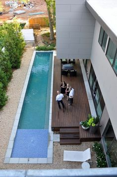 The living level is focused on the exterior pool/koi courtyard and opens onto the deck based on the Japanese engawa. Small Swimming Pools, Luxury Swimming Pools, Small Backyard Pools, Backyard Pool Designs, Small Pools, Swimming Pools Backyard, Swimming Pool Designs, Pool Landscaping, Outdoor Pool