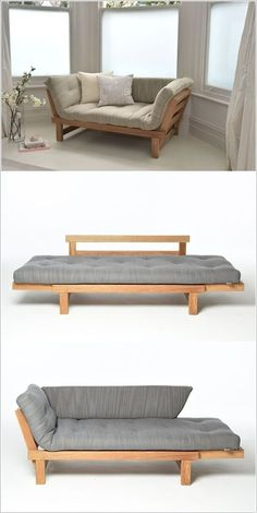 Multipurpose furniture is great for homes that are tight on space. And even if you have a bigger space available making an efficient use of it is always a great idea. We thought of bringing you some smart sofa bed designs. Because, sofa beds are life Pallet Furniture, Bedroom Furniture, Home Furniture, Furniture Design, Furniture Ideas, Diy Bedroom, Trendy Bedroom, Futon Bedroom, Repurposed Furniture