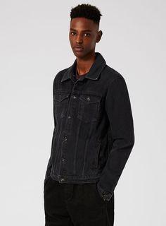 Washed Black Denim Jacket - Coats & Jackets - Clothing - TOPMAN USA