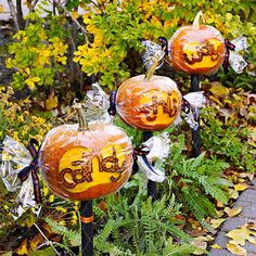 Candy-Wrapped Halloween Pumpkins