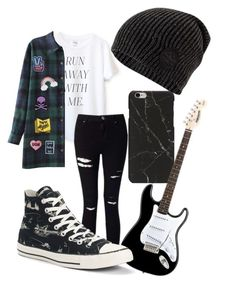 """""""Guitars & Patches"""" by chaoticstars ❤ liked on Polyvore featuring Sincerely, Jules, Miss Selfridge, Converse, Logophile, Valley Cruise Press and Demian Renucci"""