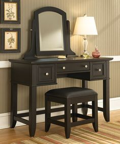 This Black Bedford Vanity Table & Bench is perfect! #zulilyfinds