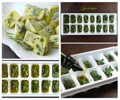 Preserving herbs in frozen olive oil. Maintains the flavor intact. Just fill each cube with fresh herbs and olive oil and freeze overnight. (Works better with thick herbs such as oregain and rosemary. thin leave herbs like basil are better used fresh). Freezing Fresh Herbs, Preserve Fresh Herbs, Freeze Herbs, Deep Freeze, Cooking Tips, Cooking Recipes, Healthy Recipes, Easy Cooking, Gastronomia
