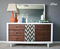 A mid-century thrift store find gets the herringbone treatment in a DIY dresser redo that won't cost an arm and a leg to replicate.