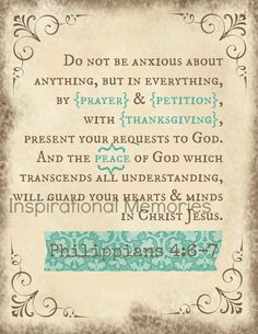 Framed Bible Verse Philippians 4:6-7 Do not be anxious about anything, but in everything, by prayer & petition, with thanksgiving, present your requests to God. And the peace off God which transcends all understanding will guard your hearts and minds in Christ Jesus. by inspirationalmemory, $11.99 #bibleverse #inspirationalmemories