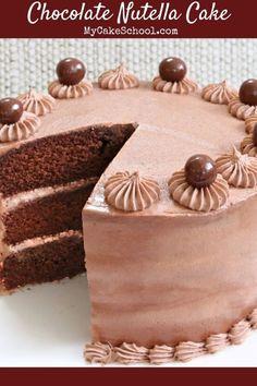 Nutella Chocolate Cake, Chocolate Cake Mix Recipes, Sour Cream Chocolate Cake, Sour Cream Cake, Nutella Recipes, Delicious Chocolate, Delicious Desserts, Yummy Food, Nutella Ganache