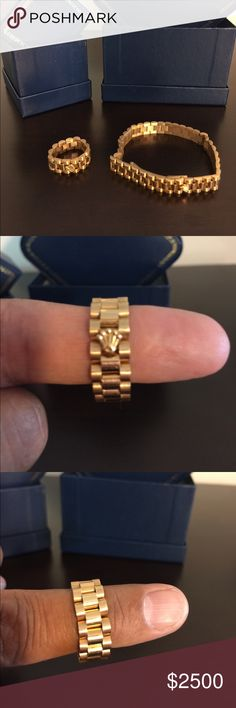 ROLEX ROLEX DESIGN BRACELET AND BAND 18 KARATE GOLD TOTAL WEIGHT 49 GRAMS WITH BOXES Rolex Other