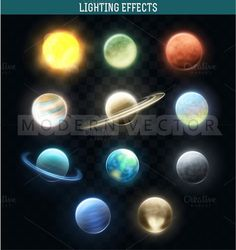 Set realistic bright planets by Modern vector on @creativemarket