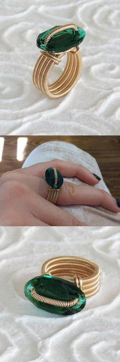 #Emerald ring, Emerald Swarovski ring, gold filled ring, gold spiral ring, #oval ring, Gold #handmadering, #gift for her http://etsy.me/2B5kYYI #classicring #giftforher #Anniversarygift #ovalring #statementring #everydayfashion #emeraldring #glamstyle #romanticstyle