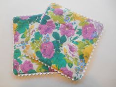 Upcycled Floral Coffee mats by TheRetroSeamstress on Etsy