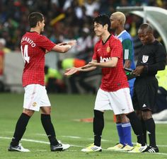 DURBAN, SOUTH AFRICA - JULY 18: Shinji Kagawa of Manchester United comes on to make his Manchester United debut during the pre-season friendly between AmaZulu FC and Manchester United at Moses Mabhida Stadium on July 18, 2012 in Durban, South Africa. (Photo by John Peters/Man Utd via Getty Images)