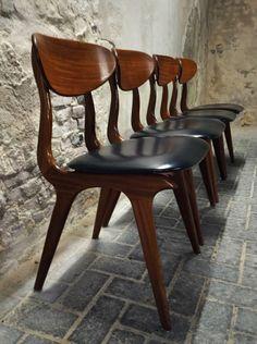 Louis van Teeffelen dinner chairs, wébé Holland, dutch design, vintage, zestiger jaren