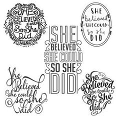 She Believed She Could so She Did - Saying Quote - Cuttable Design Cut File. Vector, Clipart, Digital Scrapbooking Download, Available in JPEG, PDF, EPS, DXF and SVG. Works with Cricut, Design Space, Sure Cuts A Lot, Make the Cut!, Inkscape, CorelDraw, Adobe Illustrator, Silhouette Cameo, Brother ScanNCut and other compatible software.