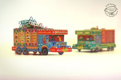 DIY Paper Toy / Favor Box | 'Goodies Carrier' Trucks from India: Set of 2 | Printable A4 size template file | Instant digital download