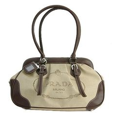 PRADA, beige and brown bag