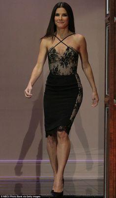 Sandra Bullock in lacey lingerie-inspired dress