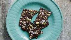 Each year, the Food Lover's Cleanse includes a bit of chocolate. A little sweet reward at the end of a disciplined day helps the program seem less stern, and bittersweet chocolate has its own antioxidant virtues. This bark combines unprocessed cocoa nibs, toasted coconut, and chopped pistachios for a crackly texture. Storing it in the fridge will give it extra snap, though the chocolate may acquire a dull bloom in there.