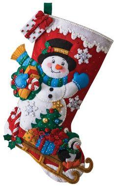 Snowman with Presents Bucilla Christmas Stocking Kit