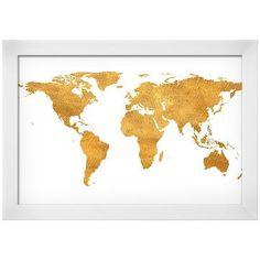 Gold World Map (gold foil) Framed Art Print