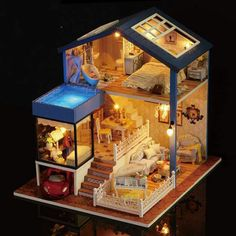 Diy Dollhouse Wooden Miniature Furniture Kit Mini House with LED Best Valentines Day Gifts for Husband & Wife ,Kid Toy Birthday Favour Gifts, Dollhouse Kits, Wooden Dollhouse, Dollhouse Miniatures, Miniature Furniture, Diy Furniture, Furniture Projects, Diy Projects, Kitchen Furniture, Dollhouse Furniture Kits