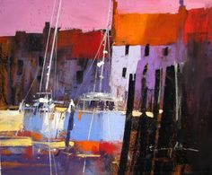 Tony Allain 'HARBOUR SIDE' pastel on sanded paper
