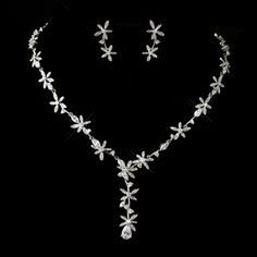 Antique Silver Clear CZ Crystal Floral Necklace & Earrings Bridal Jewelry Set