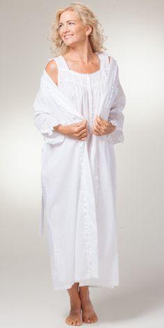 Peignoir Set - Eileen West Cotton Nightgown Wrap Robe Set - Sincerity  Nightgown f445a3e14