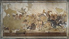 The Roman Alexander Mosaic showing Alexander the Great (left) defeating Darius III of Persia; a floor mosaic excavated from Pompeii, c. Alexander The Great, History Images, Art History, Battle Of Gaugamela, Fresco, Darius Iii, Battle Of Issus, Winged Victory Of Samothrace, Greek History