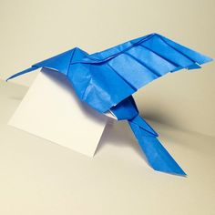 February 22nd 2015 Origami hummingbird I made today. #origami #hummingbird #paper #folding #blue #bird #diy #craft #53