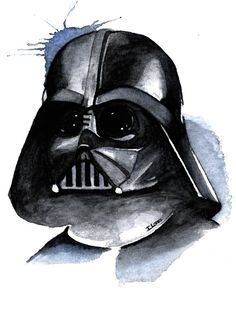 Darth Vader Watercolor art Print Empire Star Wars Decor paint
