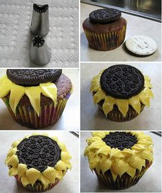 (P) sunflower cupcakes: you will need cupcakes already baked and cooled, yellow icing, a pastry, a star-shaped nozzle # 30 and another with a loop # 98, and Oreos. Make first 2 layers of petals with #98, final layer with #30.