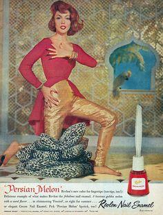 The official lipstick of Pan Am.  'Persian Melon' nailpolish by Revlon - 1950s advertisement.
