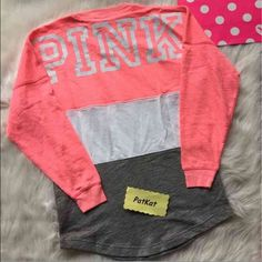 PINK VS varsity crewneck sz XS NWT - size XS a bigger will fit sz S PINK Victoria's Secret Tops Sweatshirts & Hoodies